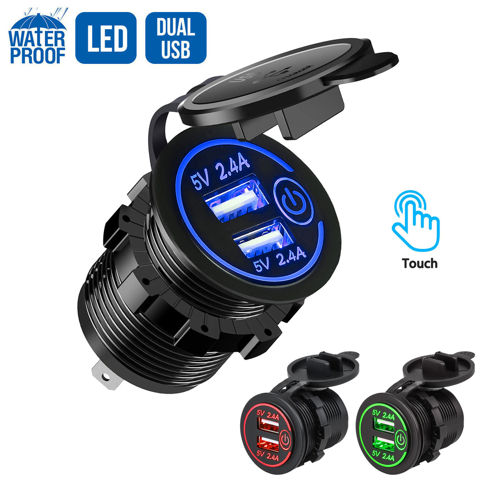 12V/24V Dual USB Fast Charger Socket Outlet W/ Touch Switch