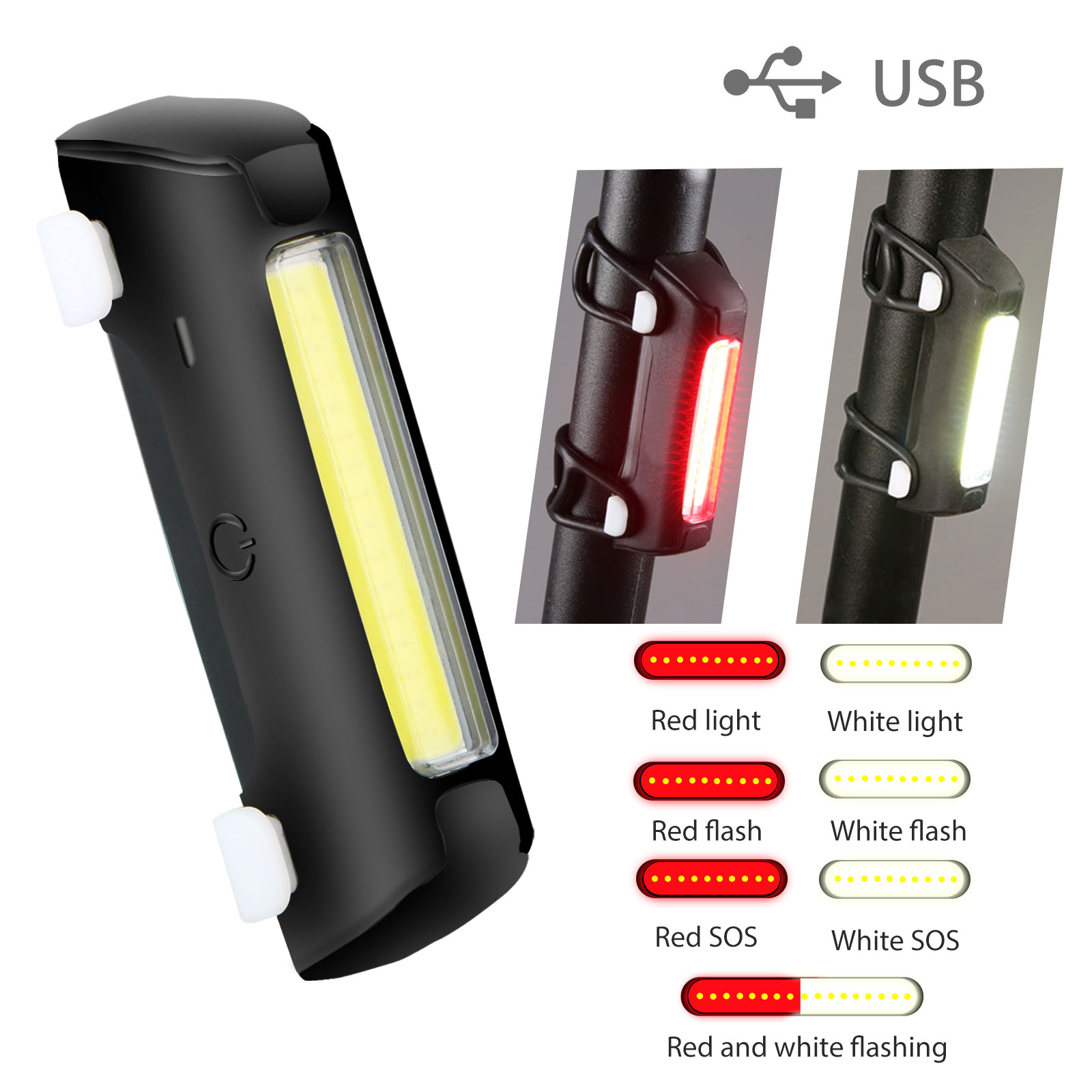 93603cae6e3 Image is loading LED-USB-Rechargeable-Bicycle-Bike-Cycling-Front-Tail-