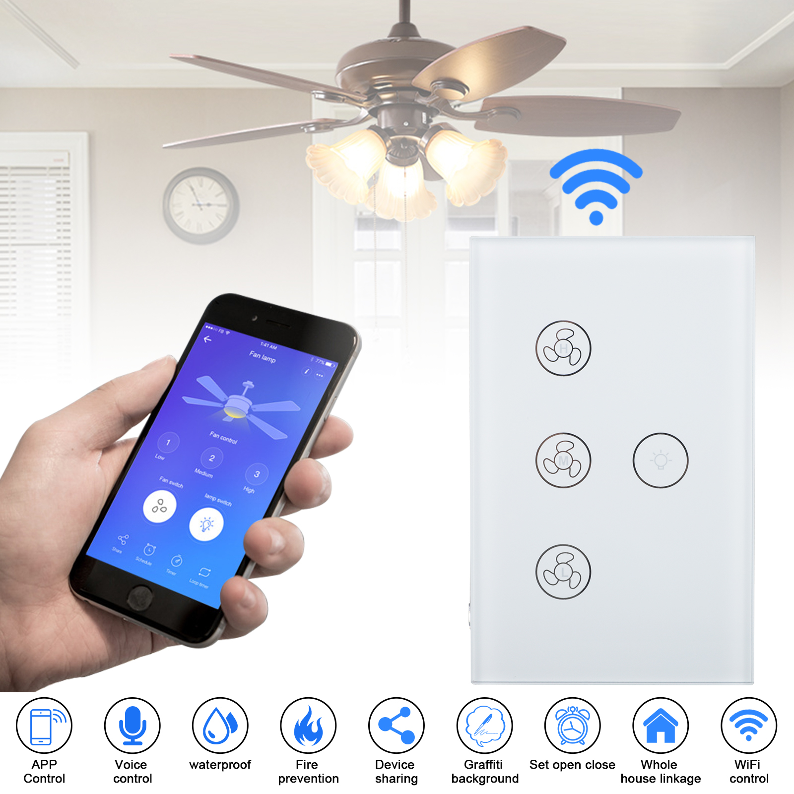 Smart WiFi In-Wall Ceiling Fan/Light Switch Voice Timer Comp
