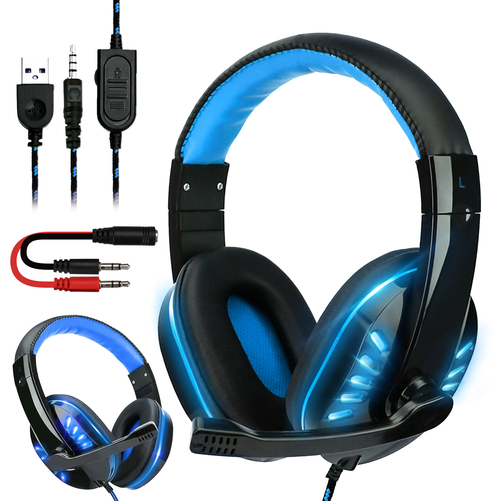 3.5mm Stereo Bass Gaming Headset with Mic Headphone Earphone