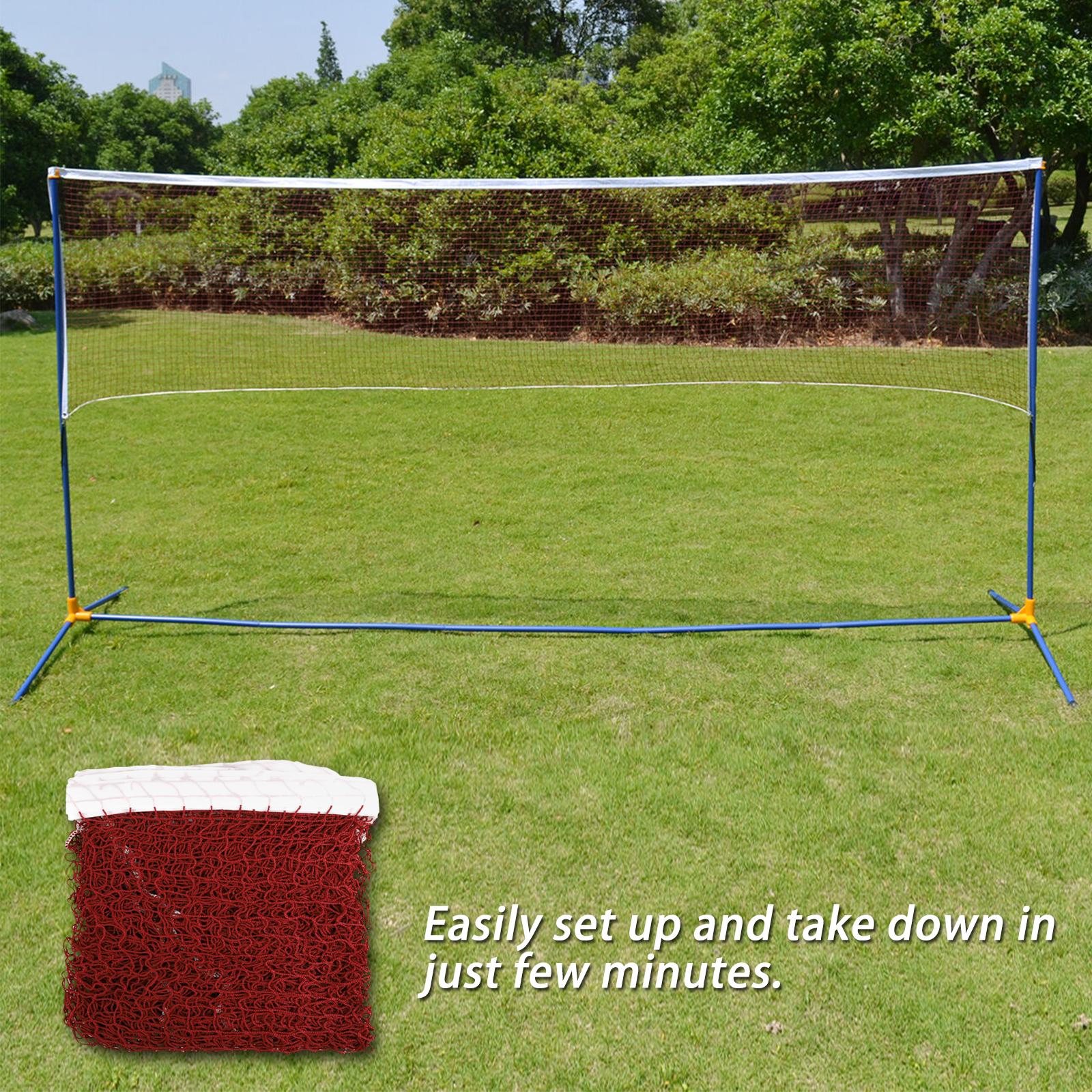 Red-Badminton-Tennis-Volleyball-Net-For-Beach-Garden-Indoor-Outdoor-Games-Sport thumbnail 7