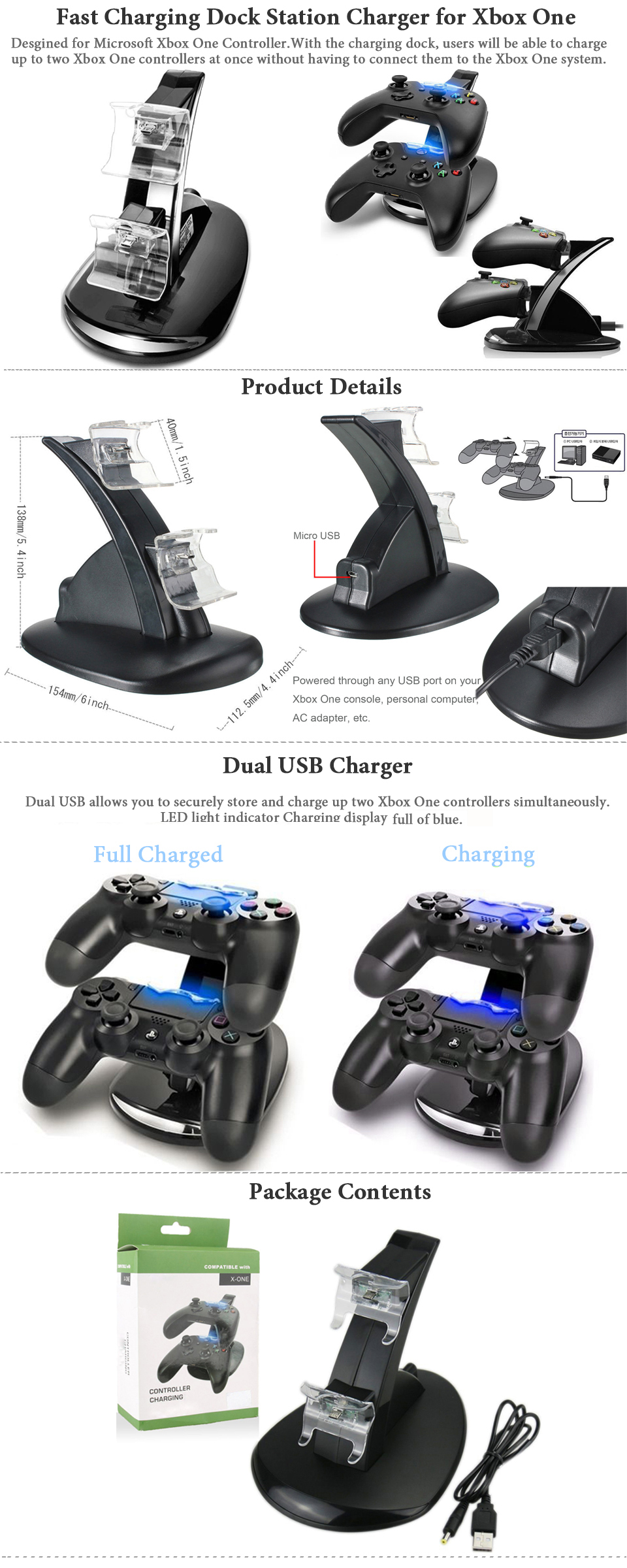 led dual fast charging dock station charger for xbox one    xbox one s controller