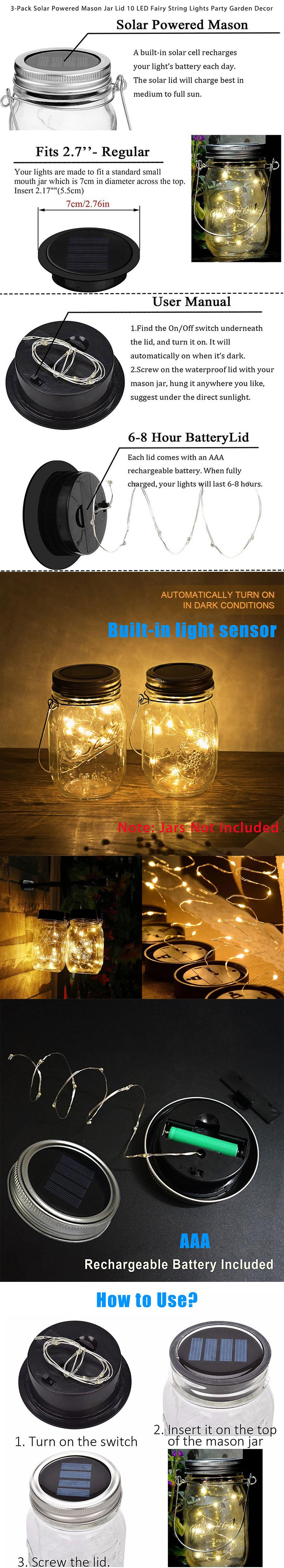 3 Piece 12V Solar Powered 1M String Fairy Lights Lids Insert Lamp For Mason Jar